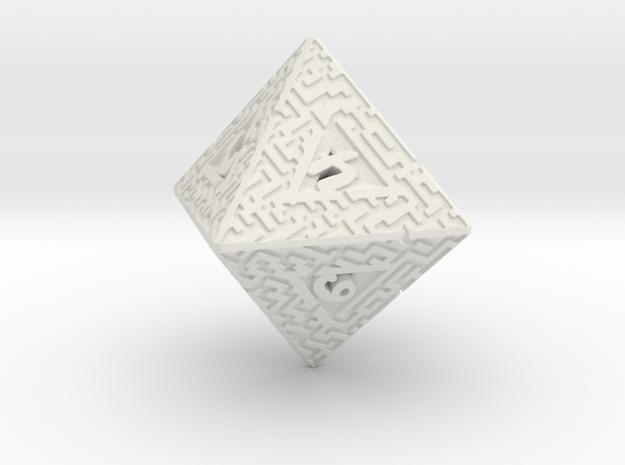 8 Sided Maze Die in White Natural Versatile Plastic