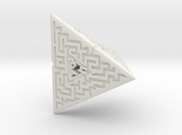 4 Sided Maze Die in White Natural Versatile Plastic
