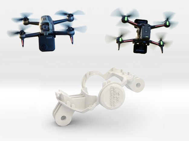 DJi FPV Front Mount (Top & Middle) in White Natural Versatile Plastic