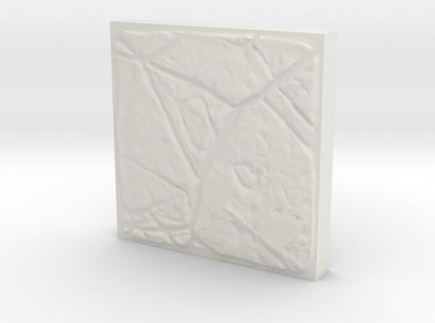 A single unique dungeon tile (3cm x 3cm) in White Natural Versatile Plastic