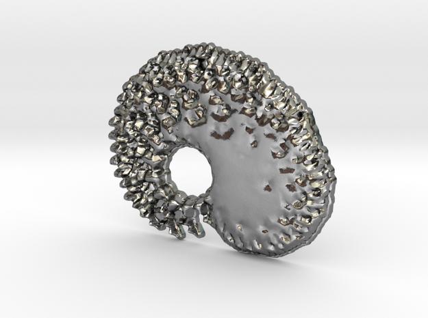 3D Fractal Tadpole Pendant in Polished Silver