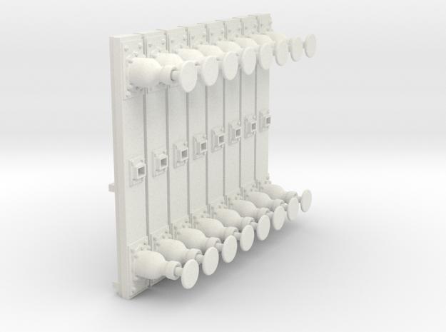 Gauge 1 LL Coal Hopper Buffer Beams in White Natural Versatile Plastic