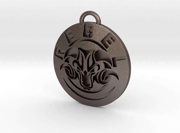 Ram Rebel Key Chain / Beer bottle opener in Polished Bronzed-Silver Steel