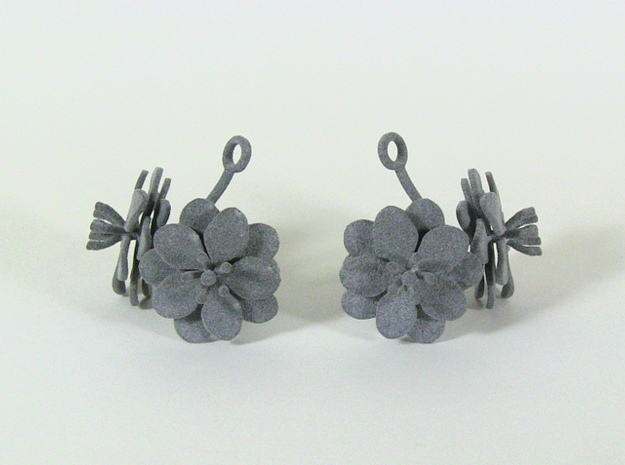 Anemone earring with two large flowers in White Processed Versatile Plastic