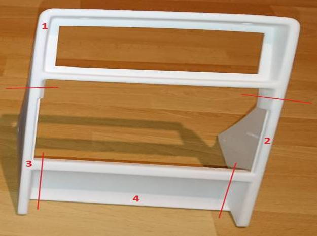 Lancia Delta centre console frame - Part 2 in White Natural Versatile Plastic