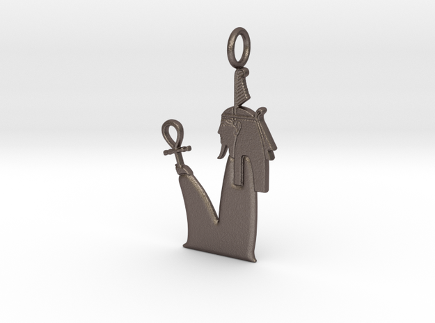 Shu amulet in Polished Bronzed-Silver Steel