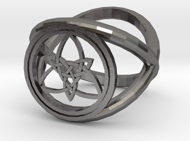 Wiccan Power Of Three Ring (Model Two) in Polished Nickel Steel
