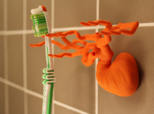 Toothbrush Tree - Six Branched in Orange Processed Versatile Plastic