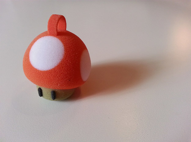 Super Mario Mushroom Keychain in Full Color Sandstone