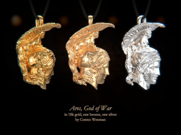 ARES, God of War necklace pendant (profile) in Natural Bronze