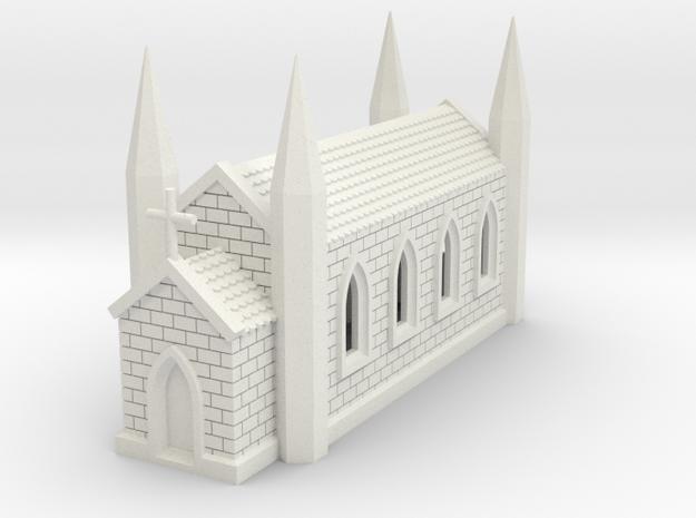 N Scale Church 1:160 in White Natural Versatile Plastic