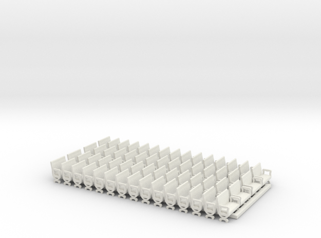 Generic interior HO 1/87 old pass. car 60 seats in White Natural Versatile Plastic