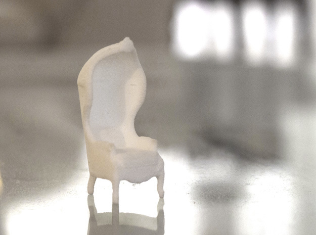 "Armchair-Roof 1/2"" Scaled in White Processed Versatile Plastic: 1:24"