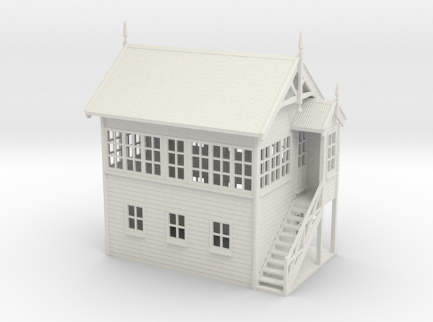 VR Signal Box #2 [Right Stairs] 1:76 Scale in White Natural Versatile Plastic