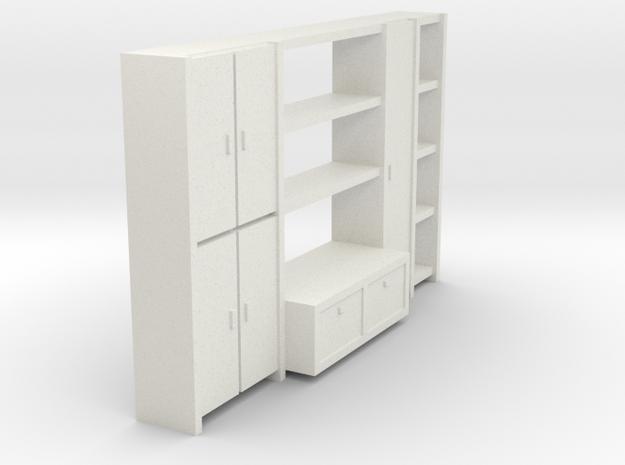A 001-1Wohnzimmerschrank 1:64 in White Natural Versatile Plastic: 1:64 - S