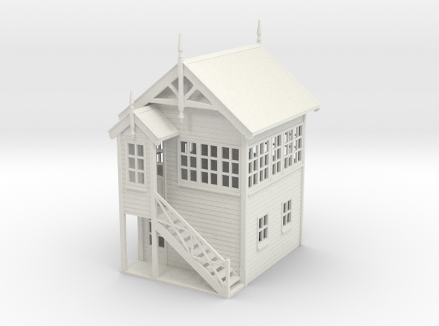 VR Signal Box #1 [Left Stairs] 1:87 Scale in White Natural Versatile Plastic