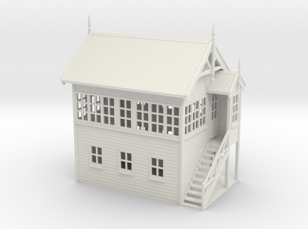 VR Signal Box #2 [Right Stairs] 1:87 Scale in White Natural Versatile Plastic
