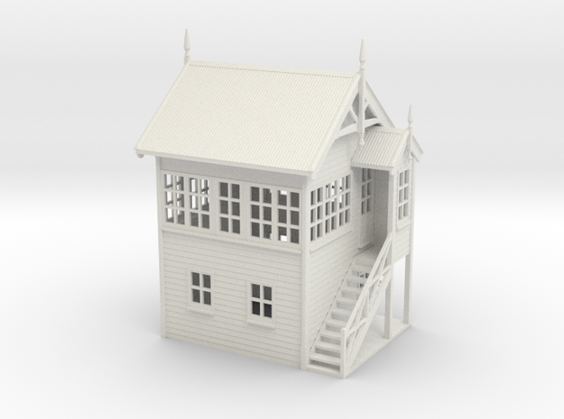 VR Signal Box #1 [Right Stairs] 1:87 Scale in White Natural Versatile Plastic