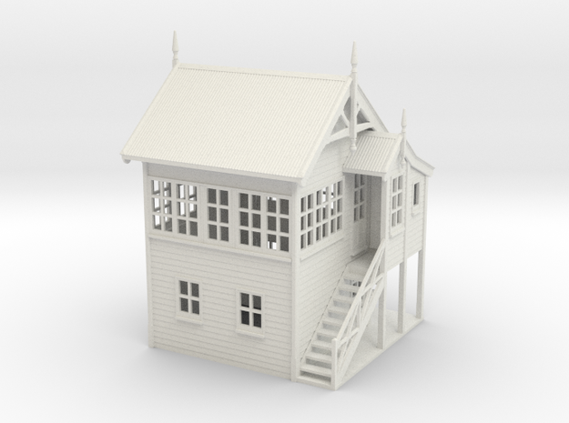 VR Signal Box #1 [Right Stairs &Toilet] 1:87 Scale in White Natural Versatile Plastic