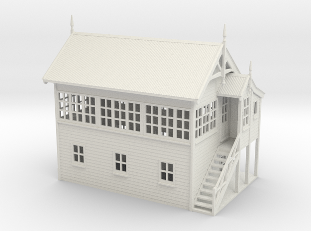 VR Signal Box #3 [Right Stairs &Toilet] 1:87 Scale in White Natural Versatile Plastic