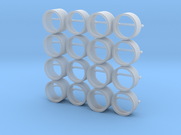 1/64 scale RWB Tires 4 sets - 9mm ID in Smooth Fine Detail Plastic