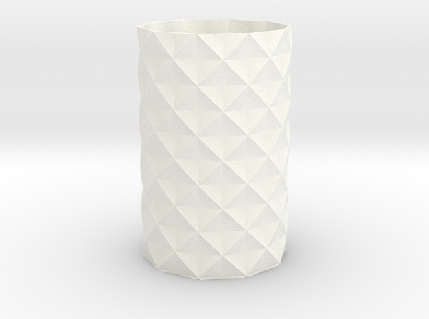 Patterned Mathematical Vase (100mmx60mm) in White Strong & Flexible Polished
