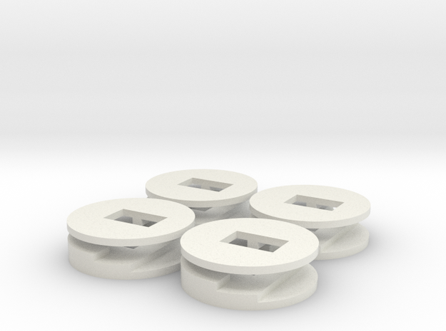 4 plugbuttons in White Natural Versatile Plastic