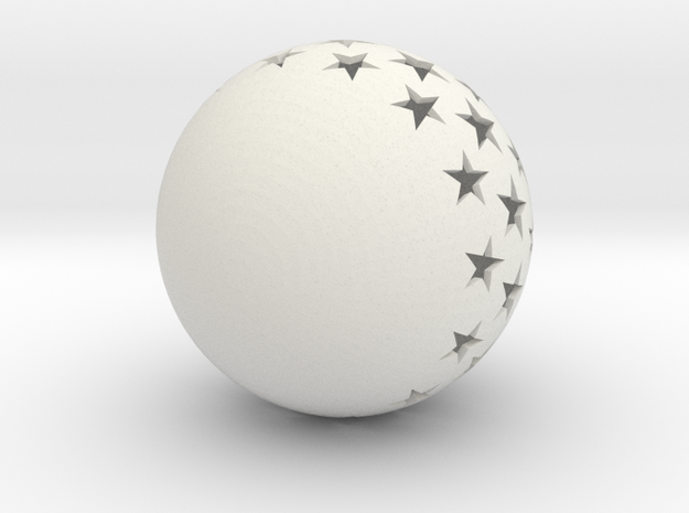 Christmasball with stars in White Natural Versatile Plastic