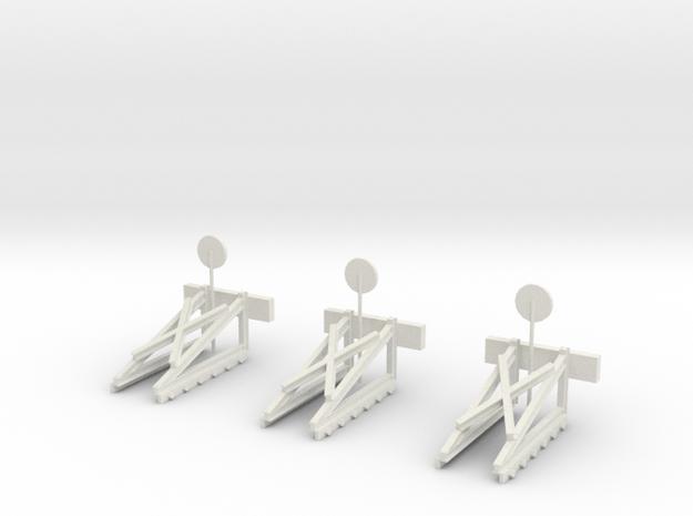 Schmalspur Prellböcke (Bufferstop) H0e x 3 in White Strong & Flexible