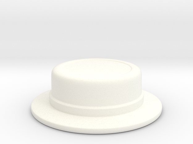Straw Boater  in White Processed Versatile Plastic