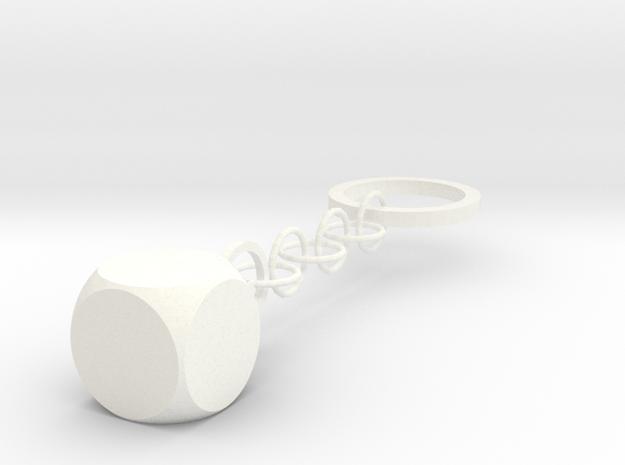 Keychain  in White Processed Versatile Plastic