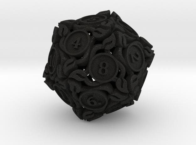 20-sided die with leaves 3d printed