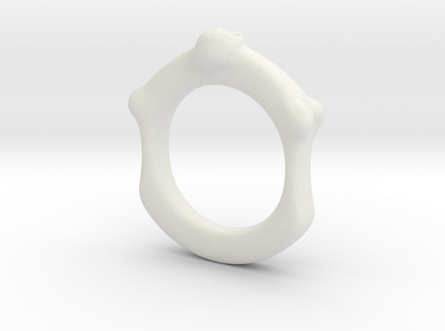 Skull and Bone Ring aprox size 6.5 in White Natural Versatile Plastic