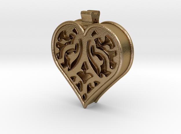 Window Heart in Polished Gold Steel