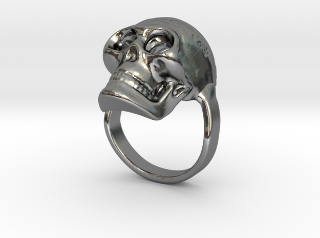 Skull ring size 50 / 5 3/8 (ask for other size) in Polished Silver