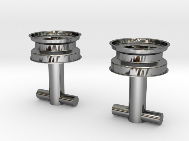 Fuchs wheel cufflink 3d printed Cufflink in gold
