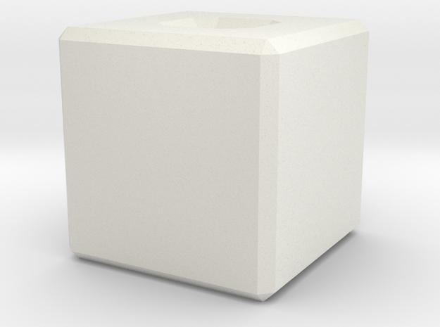 beveled_cubic_bead.stl in White Natural Versatile Plastic