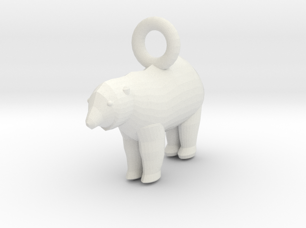 Polar Bear Pendant 3d printed Antique Bronze Glossy, Stainless Steel, and Gold Plated Glossy bears