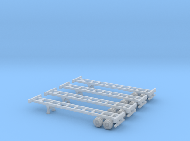 40 foot Chassis - Set of 4 - Zscale in Smooth Fine Detail Plastic