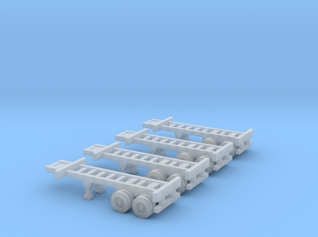 20 foot Container Chassis - Set of 4 - Zscale in Smooth Fine Detail Plastic