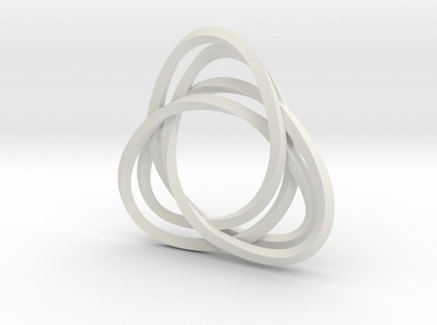 Tri mobius twin 2mm rail pendant in White Natural Versatile Plastic