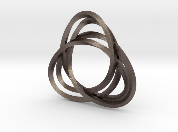 Tri mobius twin rail right earring in Polished Bronzed Silver Steel