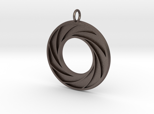 Swirl Pendant in Polished Bronzed Silver Steel