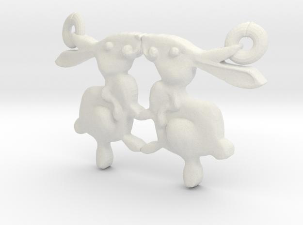 Bunny Pendant in White Natural Versatile Plastic