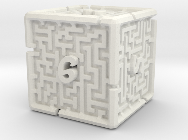 6 Sided Maze Die V2 in White Natural Versatile Plastic