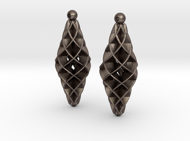 Double Spiral Star earring pair in Polished Bronzed Silver Steel