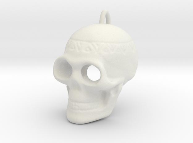 Pendant Skull (with pendant ring) in White Natural Versatile Plastic