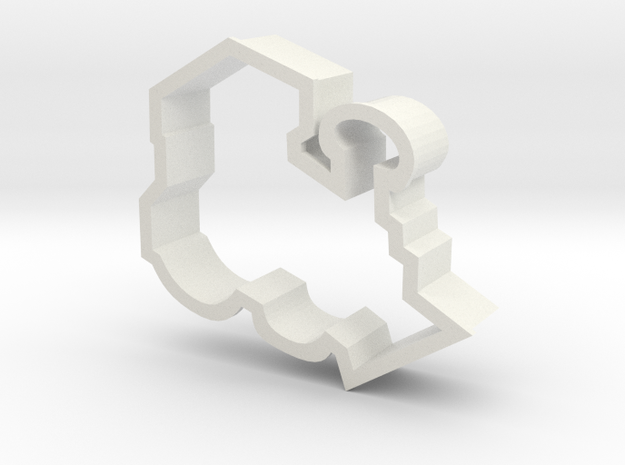 Train Engine Cookie Cutter in White Natural Versatile Plastic