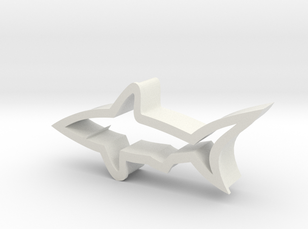 Shark shaped cookie cutter in White Natural Versatile Plastic