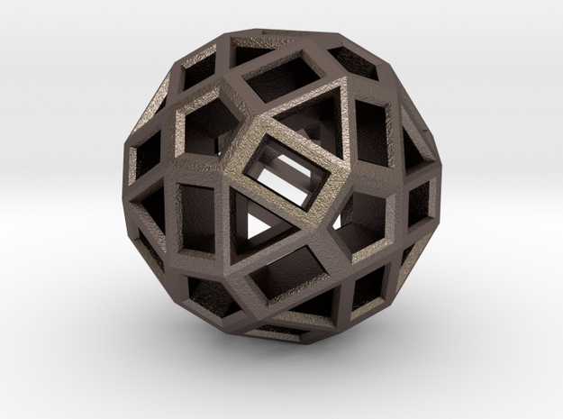 ZomeBall in Polished Bronzed Silver Steel